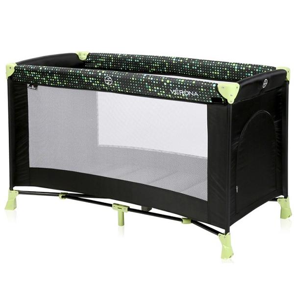 Lorelli Prenosivi Krevetac Verona 1 Nivo Black and Green Dots 10080252079 - ODDO igračke