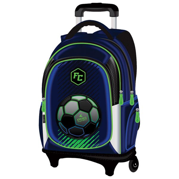 Ranac djački sa točkićima Pro Football 21.Connect 45027 plavo-fluo zeleni - ODDO igračke