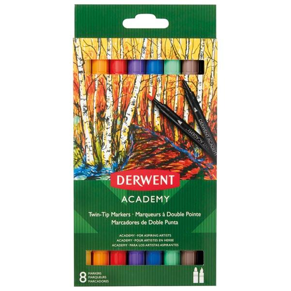 Flomaster obostrani 8boja (brush/fine) karton Academy Derwent 98206 blister - ODDO igračke
