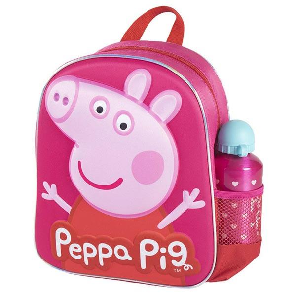 Ranac predškolski 3D+flašica Peppa prase Cerda 2100003590 crveno-roze - ODDO igračke