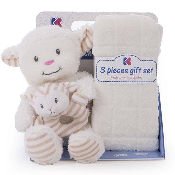 Gift set ćebence za bebe i igračka Sheep Ivory Kikka Boo 31103020039 - ODDO igračke