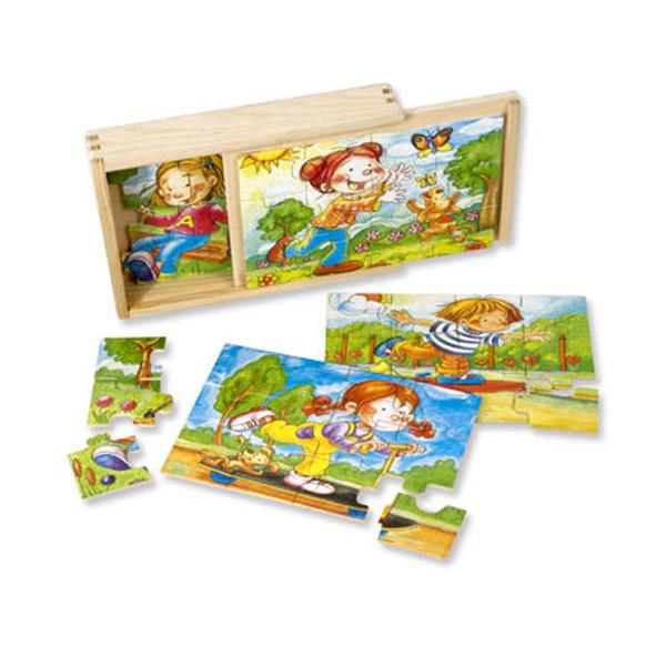 Drvena puzzla u kutiji - Igralište 12 elemenata 3708-1 - ODDO igračke