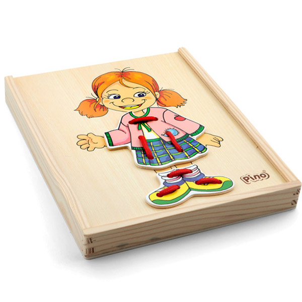 Drvena Slagalica Pertlanje, devojčica 4320-1 - ODDO igračke