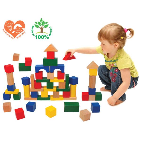 Drvene Kocke Blokovi 50 Elemenata 7814 - ODDO igračke