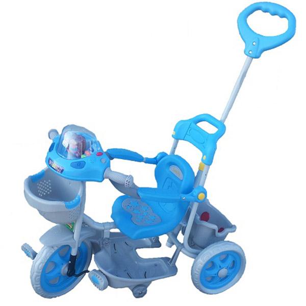 Tricikl sa ručkom i korpom Plavo Sivi 2251 0139686s - ODDO igračke