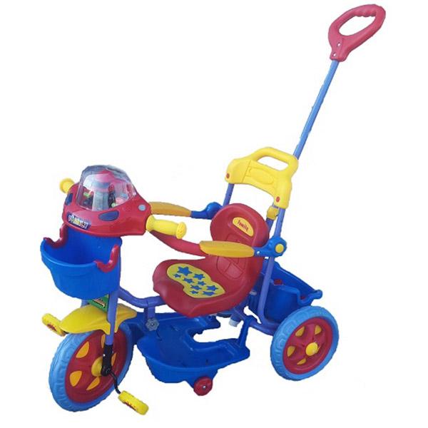 Tricikl sa ručkom i korpom Plavo Crveni 0139686p - ODDO igračke