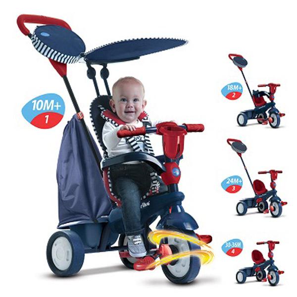 Tricikl sa ru�kom i tendom Star 4 u 1 - Blue Smart Trike 6752502 - ODDO igra�ke