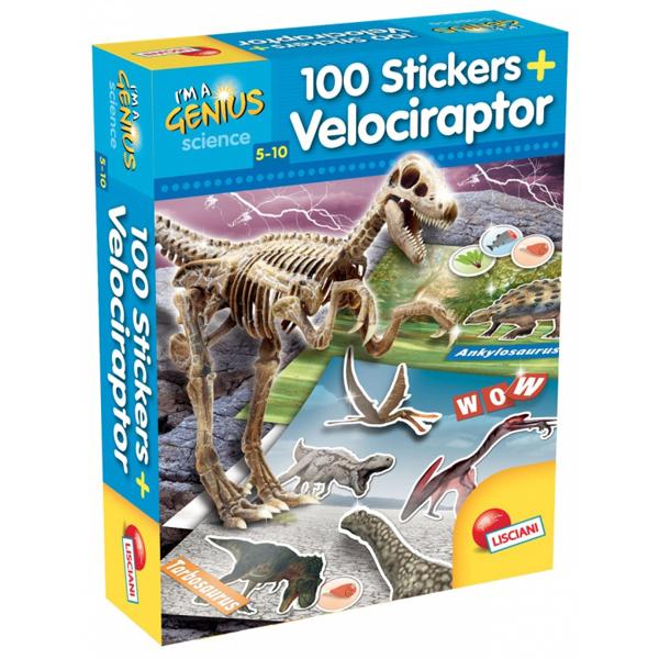 Mali Genije 100 stikera dinosaurusa Velociraptor Lisciani 60580 - ODDO igračke