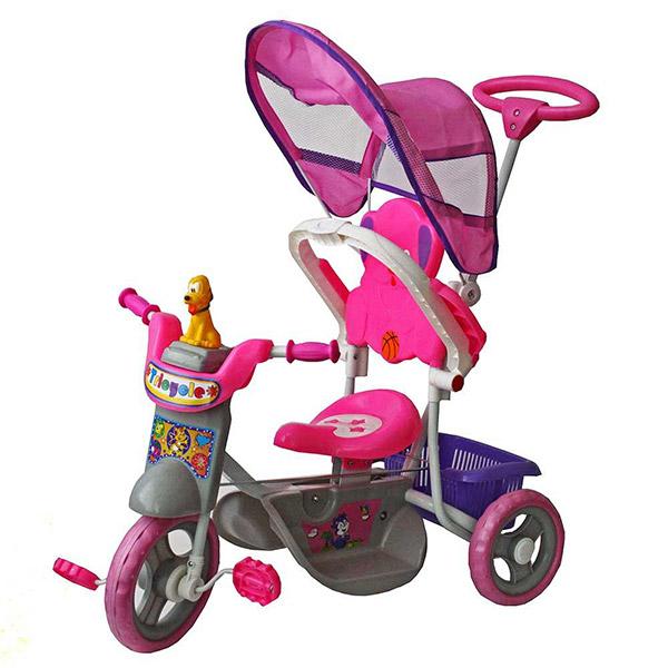 Tricikl sa ručkom i tendom Roze LB3101 - ODDO igračke