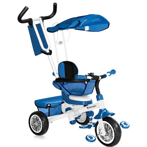 Tricikl sa ru�kom i tendom B301B Blue & White Bertoni 10050101606 - ODDO igra�ke